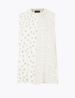 Printed High Neck Tie Detail Shell Top