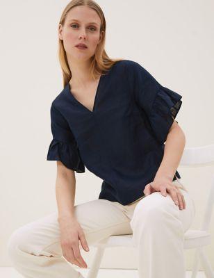 Pure Irish Linen Short Sleeve Top