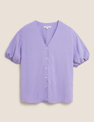 V-Neck Puff Sleeve Blouse with Linen