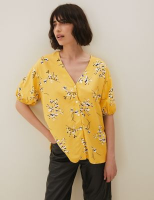 Floral V-Neck Puff Sleeve Blouse with Linen