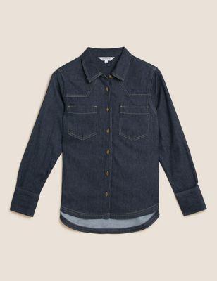 Denim Collared Long Sleeve Shirt