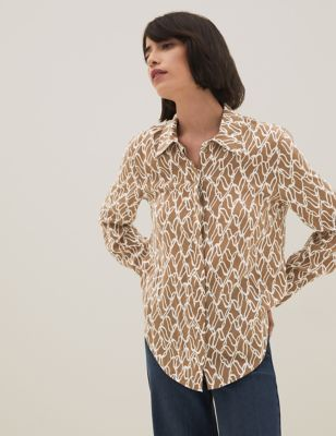 Cupro Printed Collared Long Sleeve Shirt