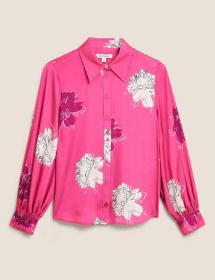 Satin Floral Blouson Sleeve Shirt