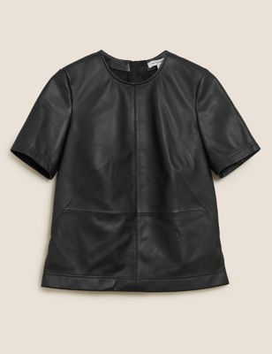 Leather Round Neck Short Sleeve Top