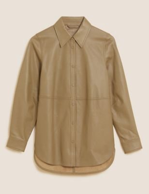Leather Collared Long Sleeve Shirt