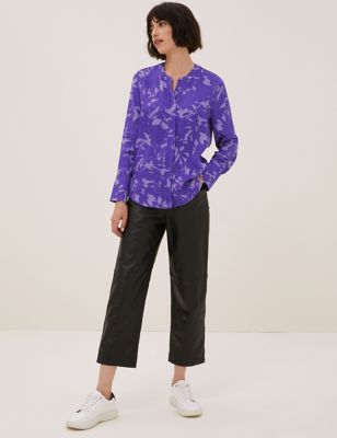 Floral Collarless Long Sleeve Shirt