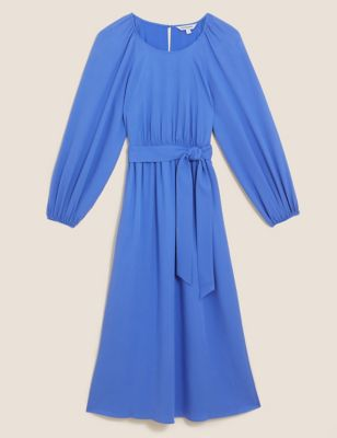 Tie Front Midi Waisted Dress