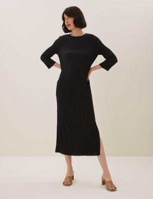 Jersey Plisse Midaxi Column Dress