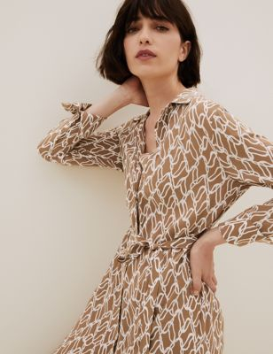 Cupro Printed Belted Midaxi Shirt Dress