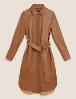 Leather Belted Midi Shirt Dress