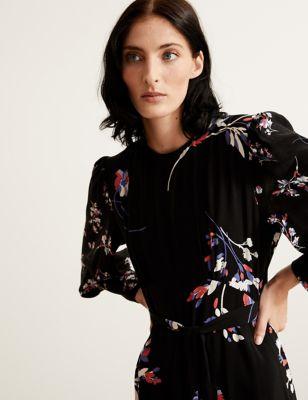 Floral Blouson Sleeve Maxi Waisted Dress