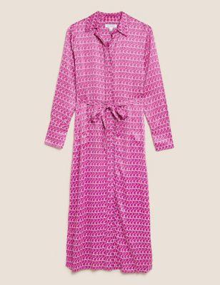 Satin Geometric V-Neck Midi Shirt Dress
