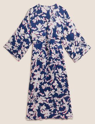 Floral V-Neck Tie Front Maxi Kimono Dress