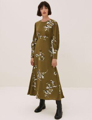 Cupro Floral Blouson Sleeve Midi Waisted Dress