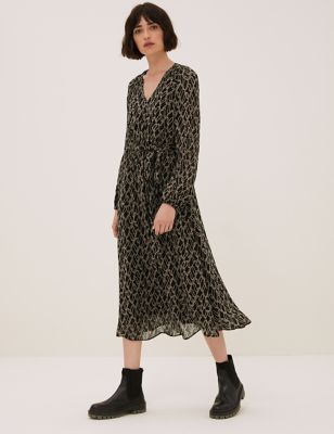 Printed V-Neck Tie Front Midi Waisted Dress