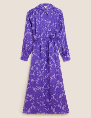 Satin Floral Midi Shirt Dress
