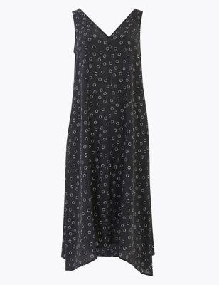 Pure Silk Printed V-Neck Midi Shift Dress