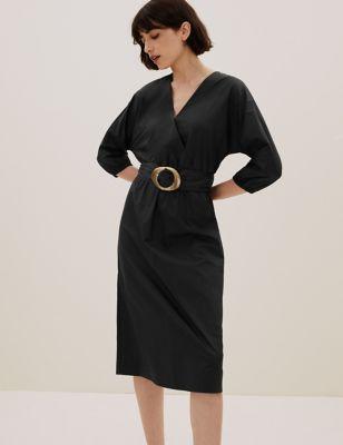 Pure Cotton V-Neck Belted Midi Dress