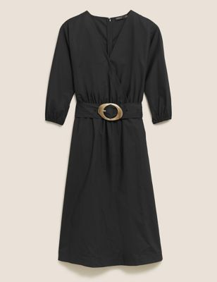 Pure Cotton V-Neck Belted Midi Dress