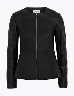 Leather Collarless Jacket