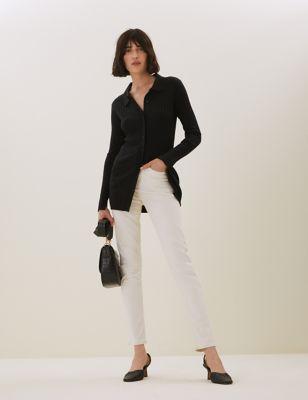 Merino Wool Collared Longline Cardigan
