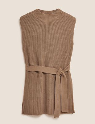 Funnel Neck Knitted Vest with Cashmere