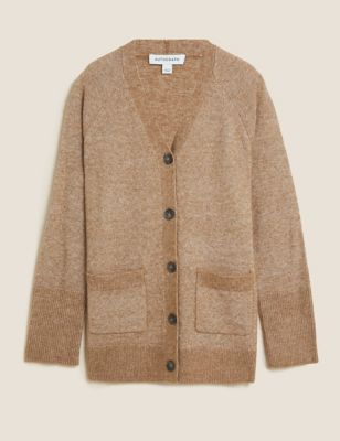 V-Neck Longline Cardigan with Mohair and Wool