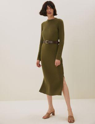 Pure Merino Wool Knitted Midi Column Dress