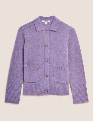 Merino Wool Collared Cardigan with Cashmere