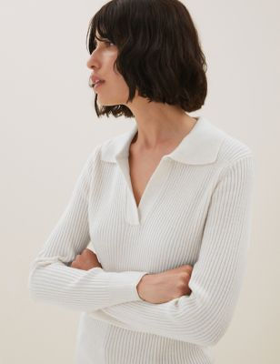 Ribbed Collared Jumper with Yak Wool