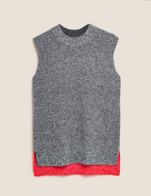 Colour Block Knitted Vest with Yak Wool