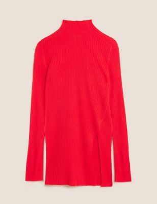Ribbed Funnel Neck Jumper with Wool