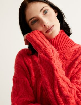 Wool Cable Knit Funnel Neck Longline Jumper