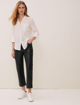 Leather Straight Leg Cropped Trousers