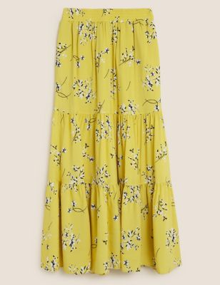 Floral Maxi Tiered Skirt with Linen