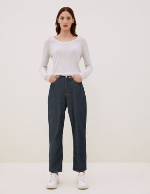 Tencel™ High Waisted Tapered Jeans