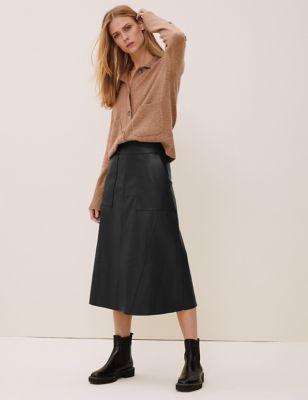 Leather Midi A-Line Skirt