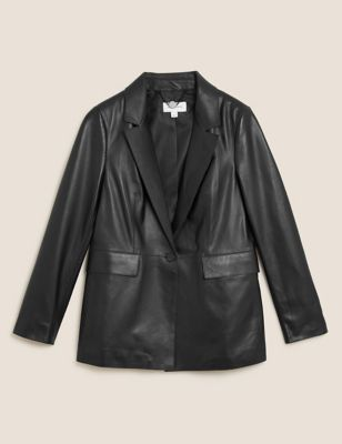 Leather Single Breasted Blazer