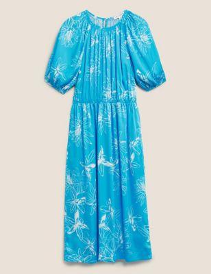 Satin Floral Print Midi Dress