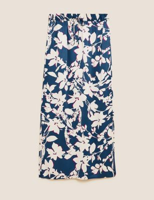 Satin Floral Midi Slip Skirt