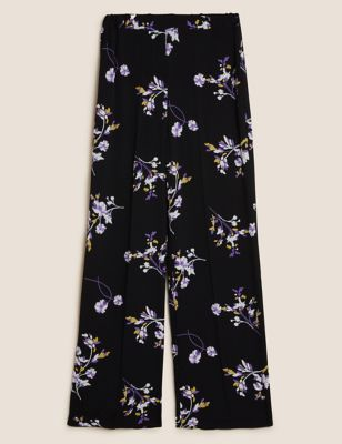 Floral Elasticated Waist Wide Leg Trousers