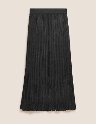 Plisse Pleated Maxi Slip Skirt
