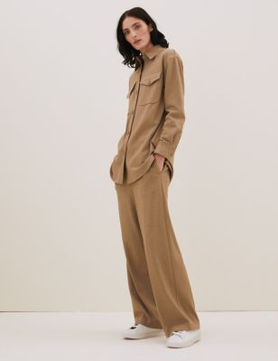 Jersey Straight Leg Trousers with Wool