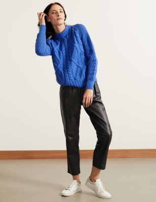 Leather Straight Leg Ankle Grazer Trousers