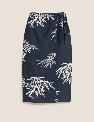 Linen Floral Midi Wrap Skirt