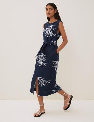 Irish Linen Printed Belted Midi Shift Dress