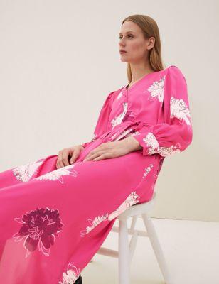 Satin Floral Print V-Neck Midaxi Dress