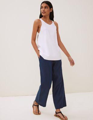 Irish Linen Straight Leg Trousers