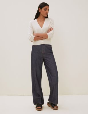 High Waisted Wide Leg Jeans with Silk