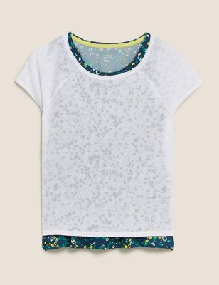 Printed Scoop Neck Double Layer T-Shirt